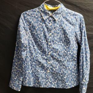 Boden LS blue flowered shirt
